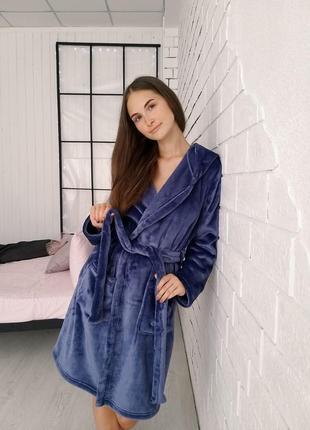Синий махровый халат
