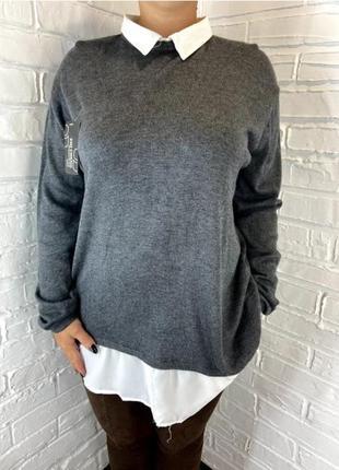 Женская кофта обманка рубашка серая батал