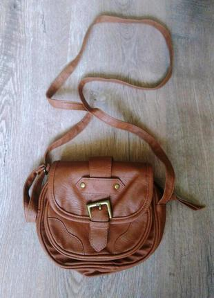 Стильная коричневая сумка клатч, сумочка на длинном ремешке, ручке