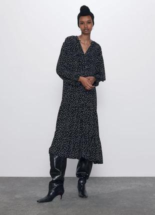 Zara платье черное в горох, s