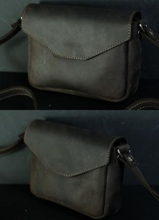 Женская сумочка кросс-боди из натуральной винтажной кожи коричневая шоколадного цвета