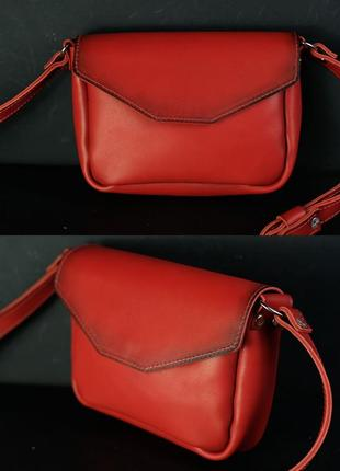 Женская сумочка красная кросс-боди из натуральной кожи итальянский краст красного цвета