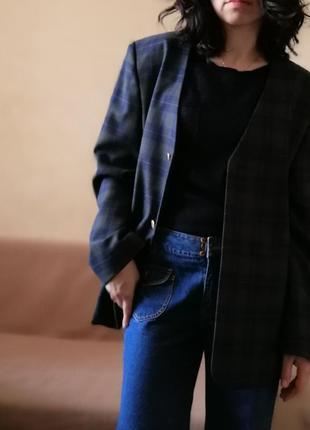 Клетчатый пиджак блейзер шерсть в составе
