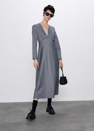 Zara серое платье а-силуэта , s, m, l