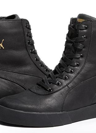 Кроссовки кожаные зимние puma black-gold