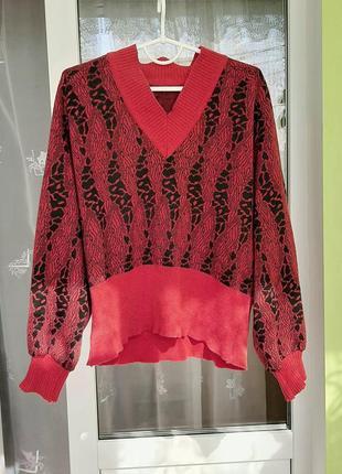 Винтажный свитер с обьемными рукавами, ретро, старый свитер с v-образным вырезом, винтаж