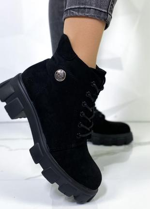 Новые шикарные женские демисезонные чёрные ботинки