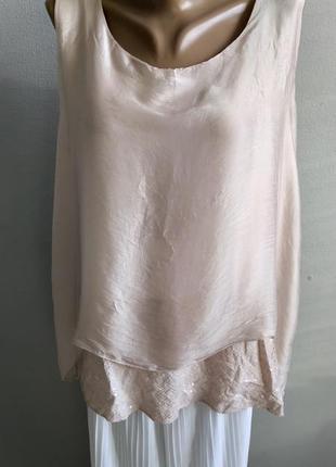 Многослойная блуза, туника, пудровый цвет,натуральный шелк, пайетки.