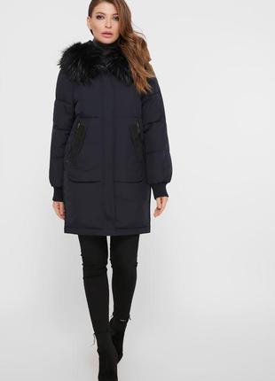 Зимняя темно-синяя куртка на биопухе