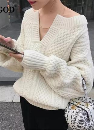 Плотный хлопковый свитер с косами оверсайз молочного цвета