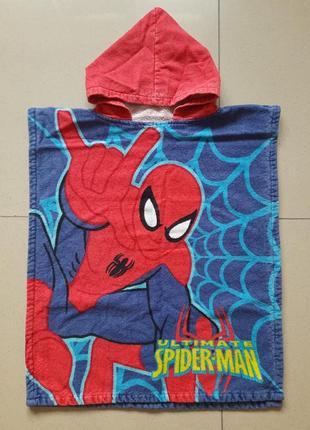 Детское банное, пляжное полотенце - пончо на 2-5лет спайдермен человек паук spider man