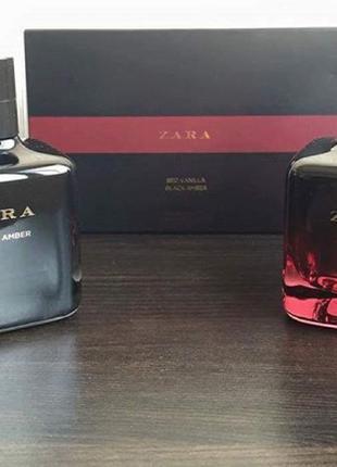 Набор туалетной водички zara women black amber/red vanilla 2*100 мл