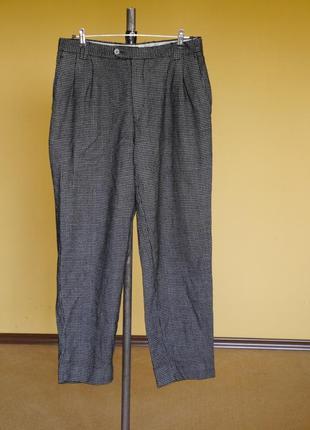 Брюки-штани в клєтку на 54-58 наш розмір 100 % шерсть