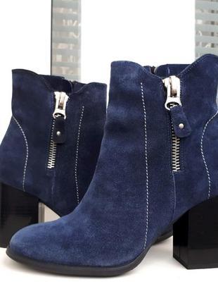 Замшевые синие осенние ботинки на каблуке vitto rossi