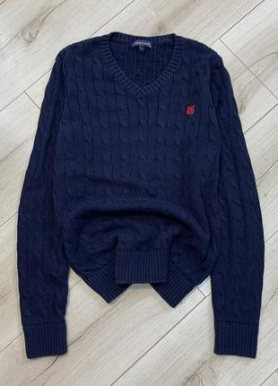 Синий хлопковый оригинальный свитер