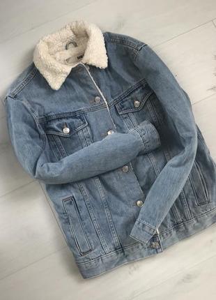 Джинсова куртка тепла шерпа