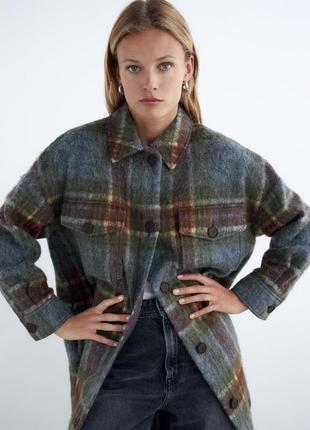Тёплая рубашка длинная в клетку клетчатая zara оригинал шерсть смесовая шерсть