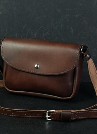Кожаная сумка кросс-боди женская из натуральной кожи итальянский краст коричневая вишневая