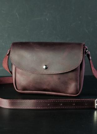 Кожаная сумка кросс-боди женская из натуральной кожи crazy horse бордовая