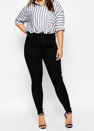 Плотные базовые черные джинсы скинни скини высокая посадка m&s