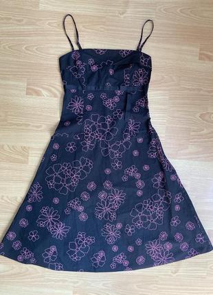 Платье на бретелях в цветочный принт h&m, р.xs