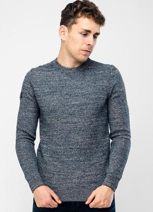 Стильный свитер/джемпер серого цвета с синим оттенком superdry international