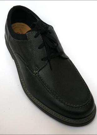 Clarks rendell черные туфли оригинал кларкс кожа 46.5 47.5