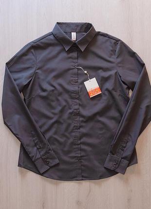 Серая стильная рубашка блузка piazza italia италия
