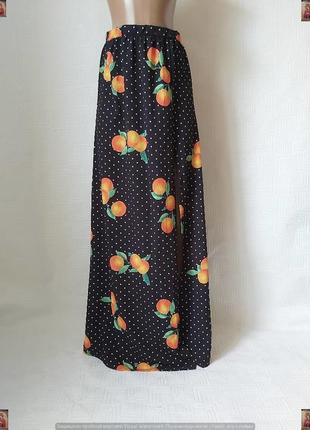 Фирменная prettylittlething шикарная юбка в пол/длинная юбка с апельсинами, размер с-м