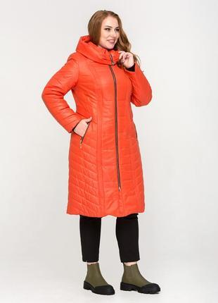 Зимняя длиная куртка с вшитым капюшоном рр 48-60