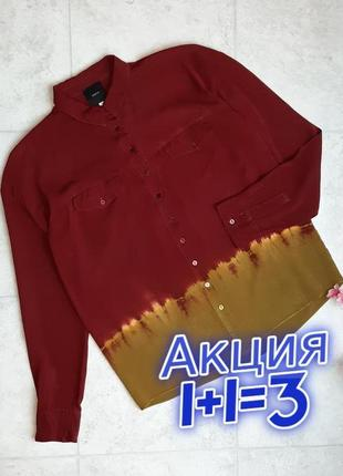 1+1=3 оригинальная бордо + горчица женская рубашка блуза блузка idano, размер 46 - 48