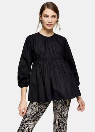Новая черная оверсайз рубашка с буф-рукавами topshop