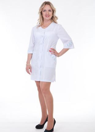 Белый халат медицинский, батист, р. 40 - 60; женская медицинская одежда, 892158