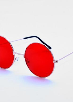 Очки солнечные красные круглые