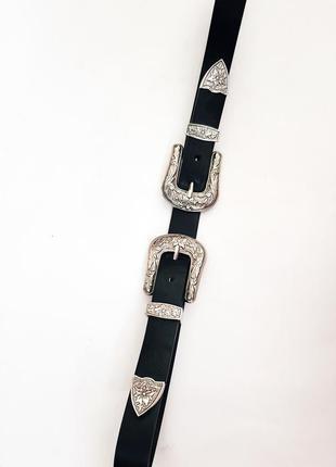 Черный ремень с двойной пряжкой метал по серебро