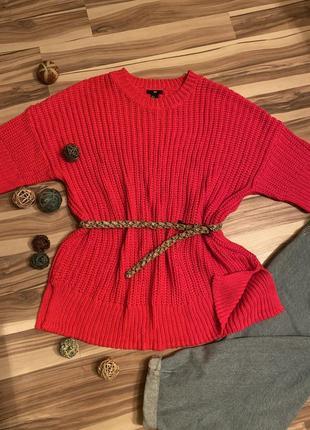 Шикарный,ярко-розовый свитер💖,платье,туника oversize (швеция🇸🇪)