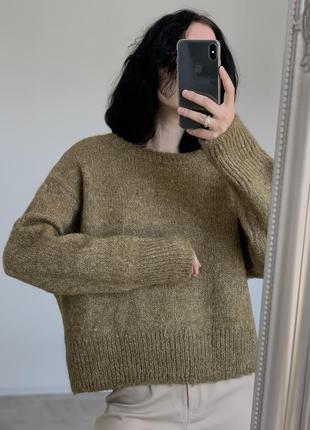 Потрясающий шерстяной оливковый свитерок  h&m
