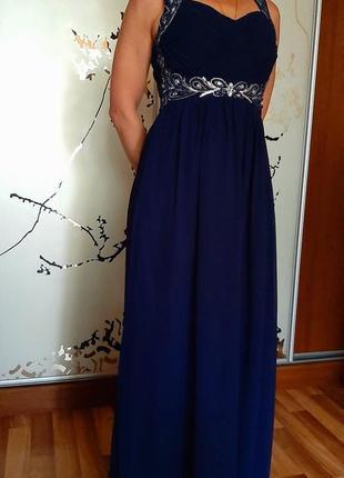 Шикарное темно-синее вечернее платье в пол