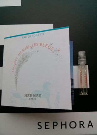 Пробник новинка hermes eau des merveilles bleue 2мл