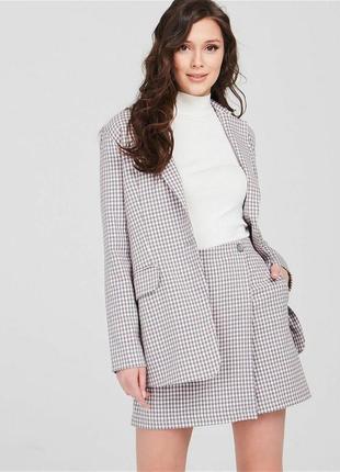 Шерстяной пиджак блейзер жакет в клетеу
