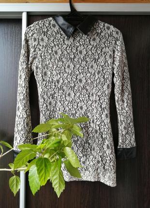 Красивая блуза кофта гипюр кожаные вставки.