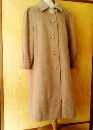 Красивое кофейное шерстяное демисезонное пальто трапецией,2xl