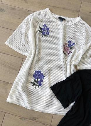 Футболка сеточка с вышивкой / футболка с цветами