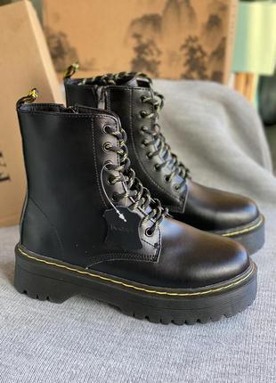 Чёрные зимние ботинки из натуральной кожи, трапперы