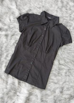 Базовая черная приталенная блузка кофточка amisu