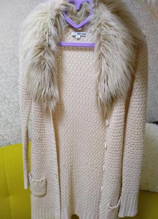 Зимняя вязанная длинная кофта tally weijl р. xs мех воротник