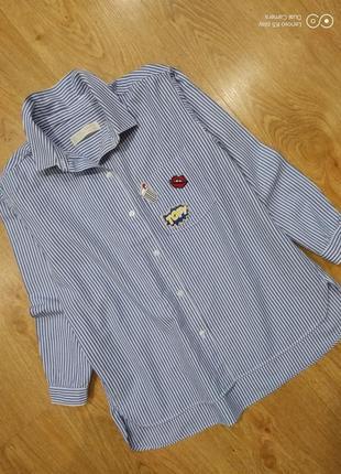 Рубашка  коттоновая-девочке-136-140-zara- идеал-