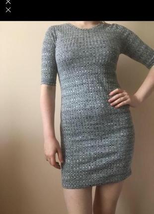 Плаття сіре в рубчик з коротким рукавом