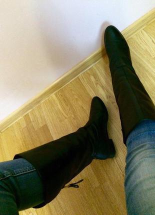Фирменные кожаные сапоги zara(испания),сапожки+подарок ремень