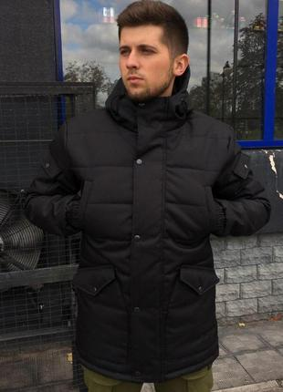 Черная мужская курточка на зиму, теплая парка (-30)